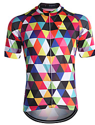 cheap -21Grams Men's Short Sleeve Cycling Jersey Blue Purple Orange Plaid Checkered Bike Breathable Quick Dry Sports Plaid Checkered Mountain Bike MTB Road Bike Cycling Clothing Apparel / Stretchy