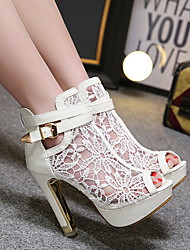 cheap -Women's Sandals Summer Pumps Peep Toe Daily PU Booties / Ankle Boots White / Black