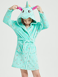 cheap -Kid's Kigurumi Pajamas Bathrobe Oodie Unicorn Flying Horse Onesie Pajamas Flannel Fabric Green Cosplay For Boys and Girls Animal Sleepwear Cartoon Festival / Holiday Costumes / Bath Robe