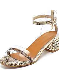 cheap -Women's Sandals Summer Block Heel Open Toe Minimalism Daily Buckle Color Block PU White / Black / Yellow