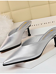 cheap -Women's Clogs & Mules / Slippers & Flip-Flops Summer Stiletto Heel Pointed Toe Daily Solid Colored PU White / Black / Yellow