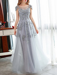 cheap -A-Line Elegant Floral Engagement Formal Evening Dress Illusion Neck Short Sleeve Floor Length Tulle with Crystals Appliques 2020