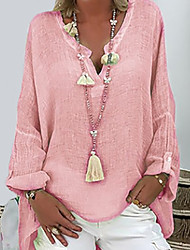 cheap -Women's Blouse Shirt Solid Colored Long Sleeve Button V Neck Tops Basic Basic Top White Black Blushing Pink