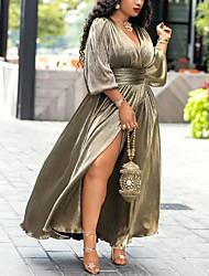 cheap -Women's Sheath Dress Maxi long Dress - Long Sleeve Solid Color Split Spring Fall Vintage Daily Weekend 2020 Gold S M L XL XXL