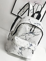 cheap -Unisex Canvas School Bag Rucksack Commuter Backpack Large Capacity Zipper Print Marble Casual Daily Backpack 2021 White Black