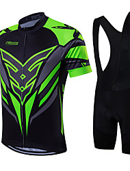 cheap -21Grams Men's Short Sleeve Cycling Jersey with Bib Shorts Green / Black Yellow Red Bike Breathable Quick Dry Sports Classic Mountain Bike MTB Road Bike Cycling Clothing Apparel / High Elasticity
