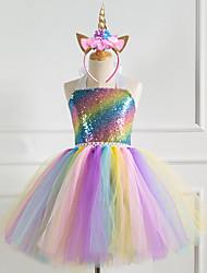 cheap -Unicorn Cosplay Costume Costume Girls' Movie Cosplay Tutus Vacation Dress Golden Silver Rainbow Dress Headwear Christmas Halloween Carnival Polyester / Cotton Polyester