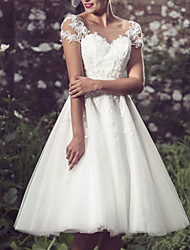 cheap -A-Line Wedding Dresses Jewel Neck Knee Length Lace Tulle Short Sleeve Vintage 1950s with Appliques 2021