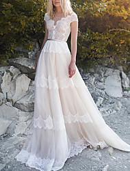 cheap -A-Line Wedding Dresses V Neck Court Train Lace Tulle Short Sleeve Country with Sashes / Ribbons 2021