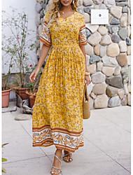 cheap -Women's Sundress Maxi long Dress - Half Sleeve Floral Print Summer Boho Daily 2020 Yellow S M L XL