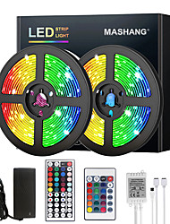 cheap -MASHANG 5M 10M 15M 20M LED Strip Lights RGB DC12V LED Lights Flexible Color Change SMD 2835 with IR Remote Controller and 100-240V Adapter for Home Bedroom Kitchen TV Back Lights DIY Deco