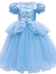 cheap -Cinderella Princess Dress Flower Girl Dress Girls' Movie Cosplay A-Line Slip Vacation Dress Blue Dress Christmas Halloween Children's Day Polyester