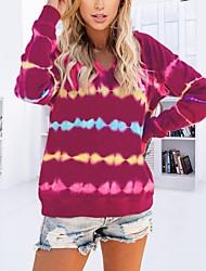 cheap -Women's Pullover Hoodie Sweatshirt Striped Casual Hoodies Sweatshirts  Black Blue Purple