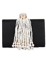 cheap -Women's Bags Polyester Satin Evening Bag Pearls Tassel Wedding Bags Party Event / Party Black Red Gold Silver