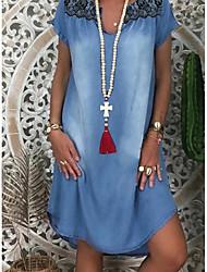 Χαμηλού Κόστους -Γυναικεία Φορέματα τζιν Μίνι φόρεμα - Κοντομάνικο Γεωμετρικό Καλοκαίρι Καθημερινό Καθημερινά 2020 Θαλασσί M L XL XXL XXXL
