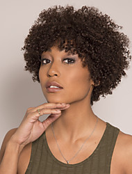 cheap -Remy Human Hair Wig Short Afro Curly Pixie Cut Asymmetrical Brown Fashionable Design Easy to Carry New Arrival Capless Brazilian Hair Burmese Hair Women's Medium Brown#4 14 inch