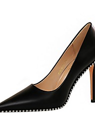 cheap -Women's Heels Summer Stiletto Heel Pointed Toe Daily Solid Colored PU Black / Khaki