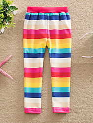 cheap -Kids Toddler Girls' Active Basic Red Striped Rainbow Lace up Leggings Rainbow