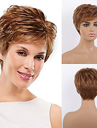 cheap -Remy Human Hair Wig Short Straight Natural Straight Bob Pixie Cut Layered Haircut Asymmetrical Brown Women Fashion Natural Hairline Capless Women's All Natural Black #1B Medium Auburn#30 Dark Wine 8