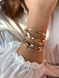 cheap -Women's Bracelet Bangles Cuff Bracelet Classic Alphabet Shape Stylish Simple Luxury Alloy Bracelet Jewelry Gold For Gift Date Festival