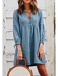 Χαμηλού Κόστους -Γυναικεία Φορέματα τζιν Μίνι φόρεμα - Μακρυμάνικο Συμπαγές Χρώμα Καλοκαίρι Καθημερινό Καθημερινά 2020 Θαλασσί M L XL XXL XXXL