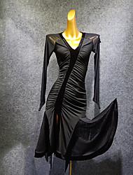 رخيصةأون -الرقص اللاتيني فستان شرابة ruching في مفصل منفصل نسائي التدريب أداء كم طويل شبكة مخمل ألياف الحليب