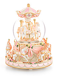 cheap -Music Box Carousel Music Box Elegant & Luxurious Vintage Merry Go Round Extra Large Unique Crystal Glass Women's Girls' Kid's Adults Graduation Gifts Toy Gift