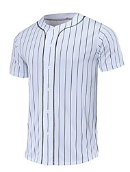 cheap -Men's Baseball Jersey Sports Polyester Tee T-shirt Short Sleeve Activewear Breathable Quick Dry Comfortable White Black