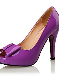 cheap -Women's Wedding Shoes Pumps Peep Toe Wedding Party & Evening Bowknot Patent Leather White / Black / Purple