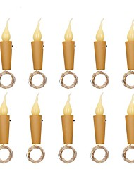 cheap -10pcs 2M 20 LED Candle String Light Christmas Gift Wine Bottle Mini Flame Cork Lamp Decoration for Christmas Holiday Wedding Date Home Bar Valentine's Day