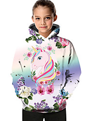 cheap -Kids Toddler Girls' Active Basic Fantastic Beasts Unicorn Geometric Color Block Print Long Sleeve Hoodie & Sweatshirt Purple
