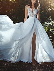 cheap -A-Line Wedding Dresses V Neck Court Train Chiffon Lace Sleeveless Country Beach Sexy with Lace Insert Split Front 2020