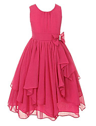 cheap -Ball Gown Ankle Length Wedding / Party Flower Girl Dresses - Tulle Sleeveless Jewel Neck with Bow(s) / Tier / Solid