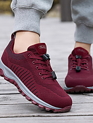 cheap -Women's Trainers Athletic Shoes Flat Heel Round Toe Outdoor Fitness & Cross Training Shoes Tissage Volant Lace-up Black Burgundy