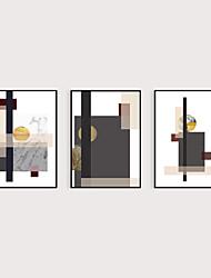 cheap -Framed Art Print Framed Set 3- Abstract Light Luxury Morandi Geometry PS Illustration Wall Art Ready To Hang