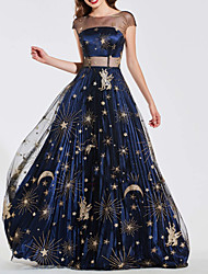 preiswerte -A-Linie luxuriös Retro Hochzeitsgast Abiball Kleid Illusionsausschnitt Kurzarm Pinsel Schleppe Tüll mit Applikationen 2020