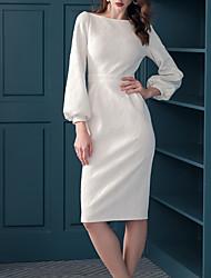 cheap -Sheath / Column Elegant Minimalist Homecoming Cocktail Party Dress Jewel Neck Long Sleeve Knee Length Cotton with Sleek 2020