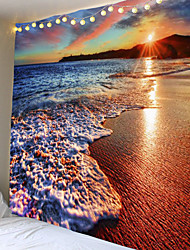 cheap -Tapestry dusk beach wall hanging water landscape beach decoration blue cloud blue foam polyester blanket handmade