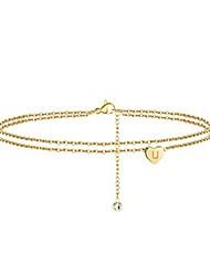 cheap -layered heart ankle bracelets for women, 14k gold filled initial anklets for women ankle bracelet alphabet with extension anklet with initials u