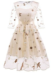 cheap -Women's A Line Dress Knee Length Dress Blushing Pink Beige 3/4 Length Sleeve Solid Color Embroidered Patchwork Fall Summer Round Neck Hot Sexy 2021 S M L XL XXL