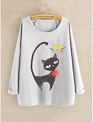 cheap -Women's Blouse Cat Round Neck Tops Blue Gray