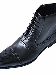 cheap -fanshonn men& #39;s pointed high tube lace-up side zipper dress ankle boots black