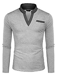 cheap -polo shirts for men shirt pocktes chest regular fit collar sport polo t-shirts long sleeve gray xl