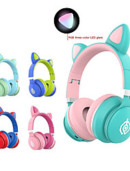 cheap -Cat Ear Headsets Bluetooth 5.0 Cute Girls Stereo Dual Drivers LED Flashing Headphones with Microphone with Volume Control Auto Pairing Gift Kids Earphones
