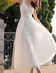 cheap -A-Line Wedding Dresses V Neck Ankle Length Tulle Sleeveless Vintage 1950s with 2020