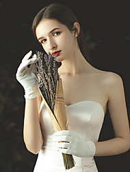 cheap -Satin Wrist Length Glove Stylish With Faux Pearl