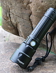 cheap -LED Flashlights / Torch Waterproof LED Emitters 3 Mode with Batteries with Battery and USB Cable Waterproof Portable Adjustable LED Camping / Hiking / Caving Everyday Use Cycling / Bike Fishing