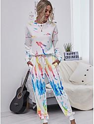 cheap -Women's Basic Rainbow Tie Dye Two Piece Set Hoodie Tracksuit Set Pant Loungewear Drawstring Patchwork Print Tops