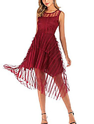 cheap -women& #39;s tulle bridesmaid dress slim layered formal dress for party wedding cocktail prom, wine red, m