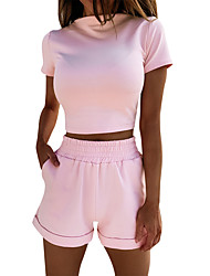 cheap -Women's Basic Solid Color Sports Outdoor Leisure Sports Exercising Two Piece Set Crop Tracksuit T shirt Pant Loungewear Tops